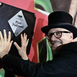 L'Unique Foundation Lifetime Achievement Award winners Pink Pedrazzi unveiling his handprints on the L'Unique Wall of Fame